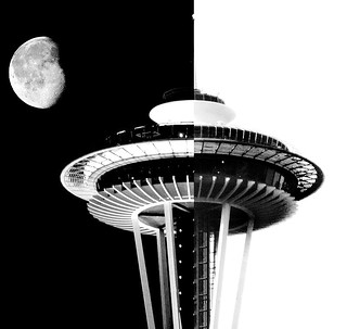 Space Needle Night and Day BW