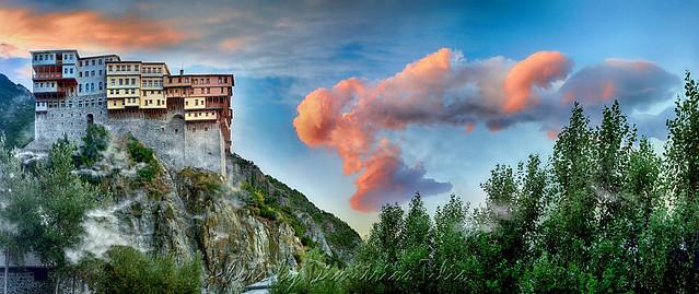 Holy Monastery Dionisiou Saint Mount Athos Panorama