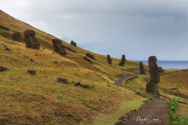A site with 397 moai