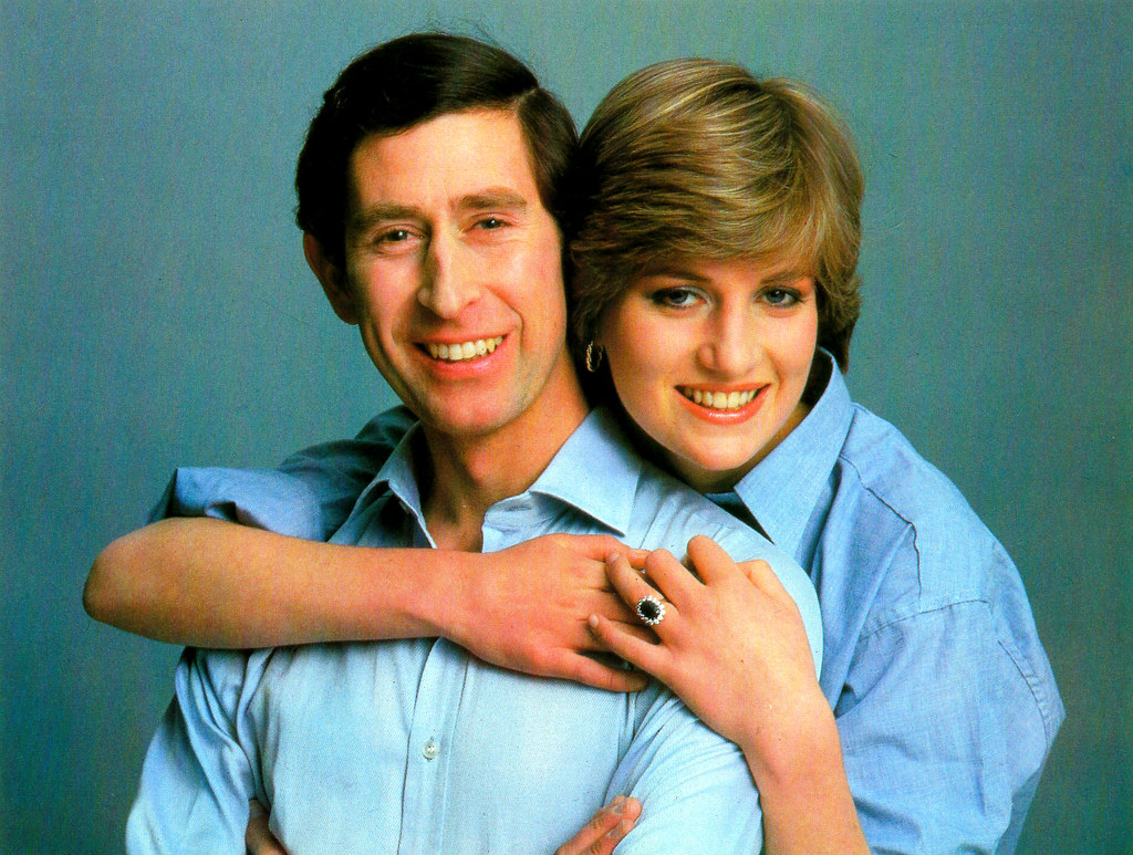 Princess Diana Memorabilia - Diana Shows Off Her Magnificent Diamond And Sapphire Engagement Ring As She Shares A Happy Moment With The Prince, 1981