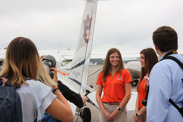 Caitlyn Miller and Kendall Higdon chat with members of the media ahead of the Air Race Classic