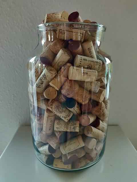 Wine cork in a glass bowl.