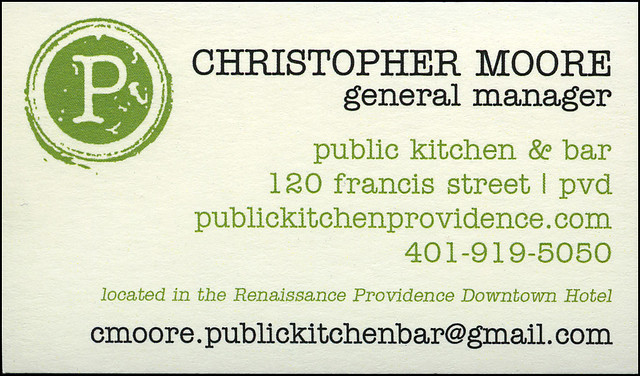 ephemera - Public Kitchen & Bar business card