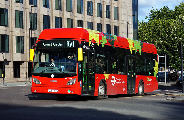 Last day of operation: Tower Transit BH63102, LJ67 HTG, on route RV1 at Tower Gateway