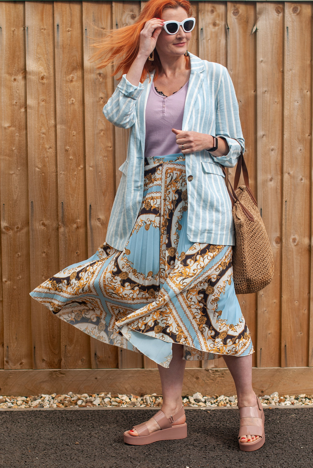 How to Style a Patterned Pleated Midi Skirt in Summer   Not Dressed As Lamb, Over 40 Fashion and Style