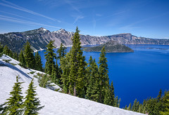 Snow around Crater Lake in June, Crater Lake National Park, Oregon