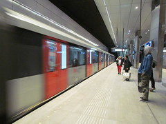 The Train Arrives at Vijzelracht Metro Station -- Amsterdam, The Netherlands, May 13, 2019