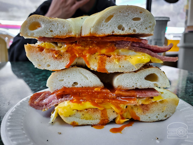 Everything Bagel w/ Taylor Ham, Egg, and Cheese - Sunrise Hot Bagel
