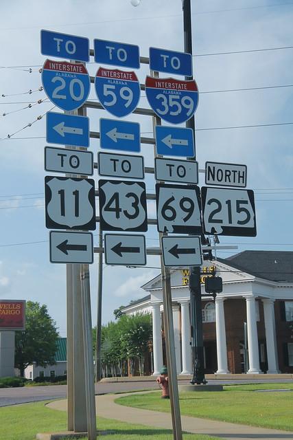 AL215 North to I-20 I-59 I-359 US11 US43 AL69