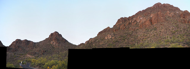 S4273379 west of Tucson sunset look up at saguaro cactus on mountainside Gates Pass Rd_6of7 ICE rot cyl stitch90
