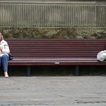 Two women on a bench in Preston