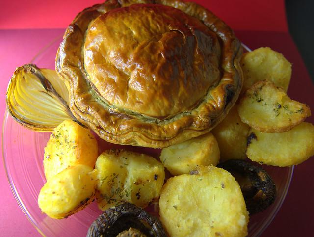 Meat Pie with Roast Potatoes