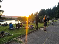 Tonight I led 100 or so folks from @providorepdx about 4 miles to Mount Tabor for #sunsetmoonriseride It was a two-parter: West side above the reservoirs for sunset, then east side for moonrise. It was a glorious evening! :sun_with_face::last_quarter_moon