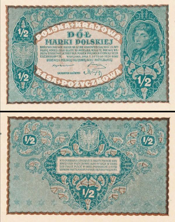 1/2 Marki  Poľsko 1920, P30