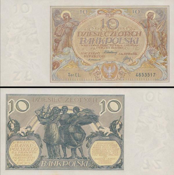 10 Zlotych Poľsko 1929, P69