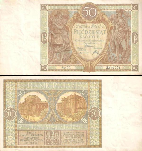 50 Zlotych Poľsko 1929, P71