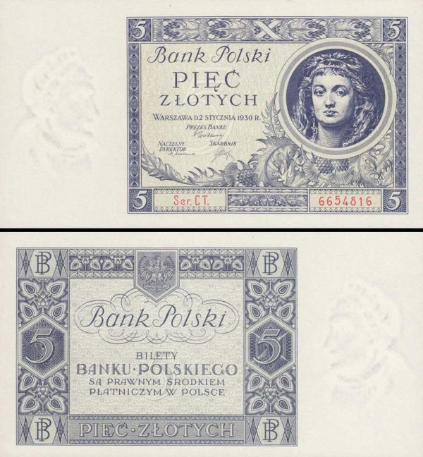 5 Zlotých Poľsko 1930, P72