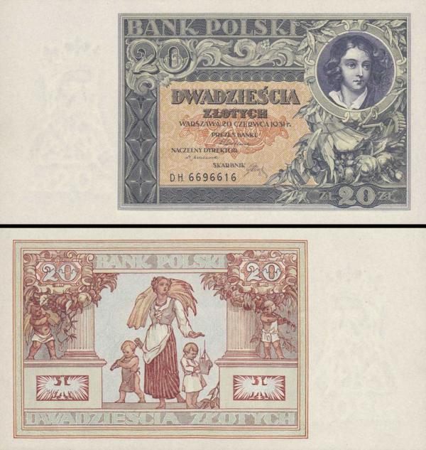 20 Zlotých Poľsko 1931, P73