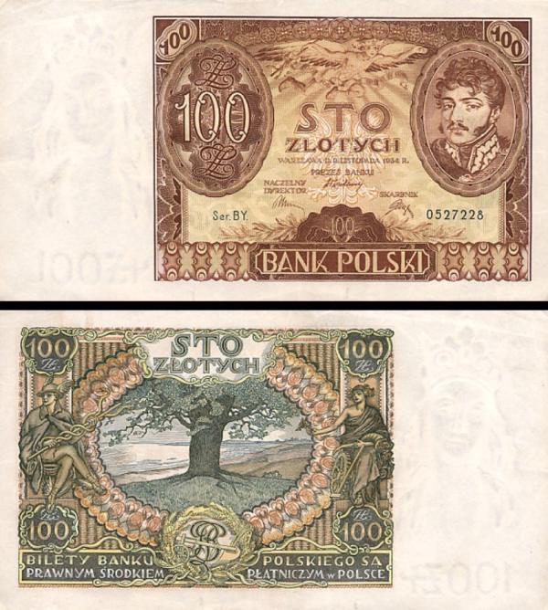 100 Zlotých Poľsko 1934, P75a