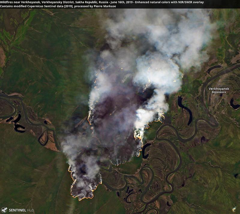 Wildfires near Verkhoyansk, Verkhoyansky District, Sakha Republic, Russia - June 16th, 2019