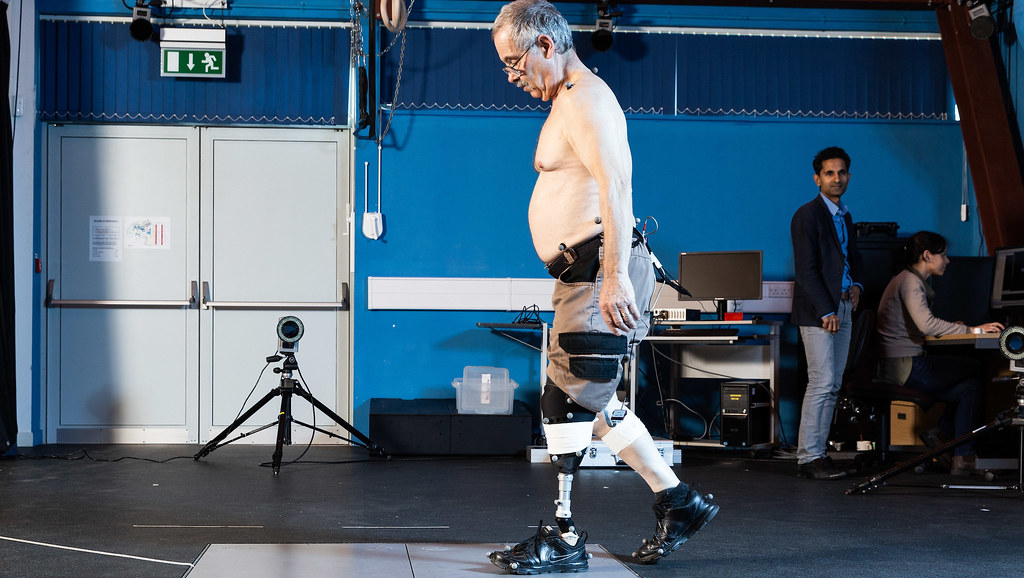 John walking over a pressure plate with motion capture markers