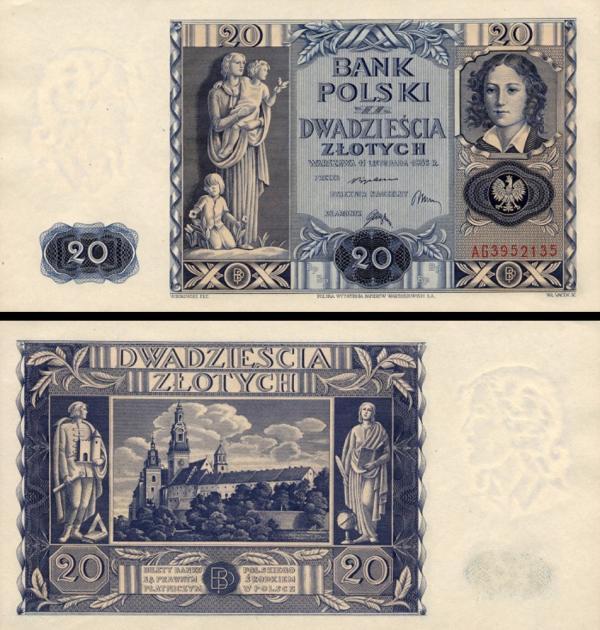 20 Zlotých Poľsko 1936, P77