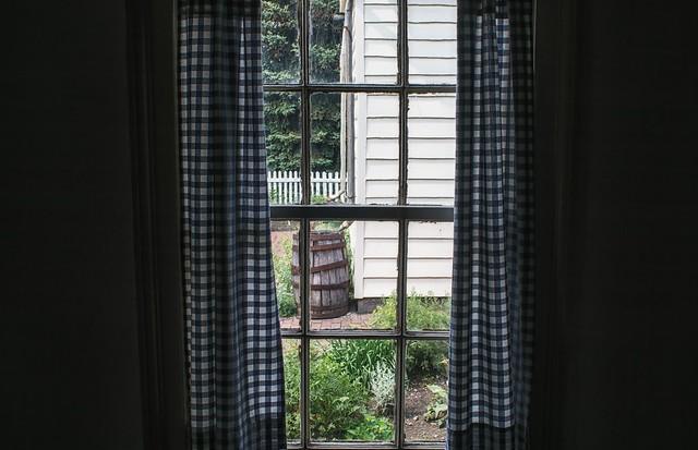 Checkered Curtains & A Rain Barrel