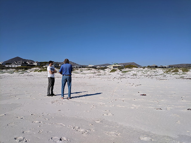 Eric and Doug chatting on Kommetjie Beach