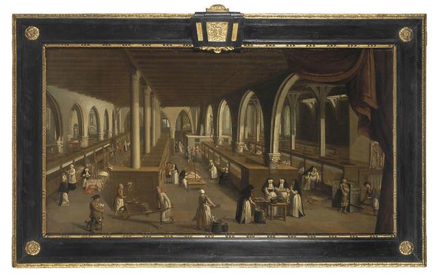Zicht in de oude ziekenzalen, schilderij (18de eeuw)