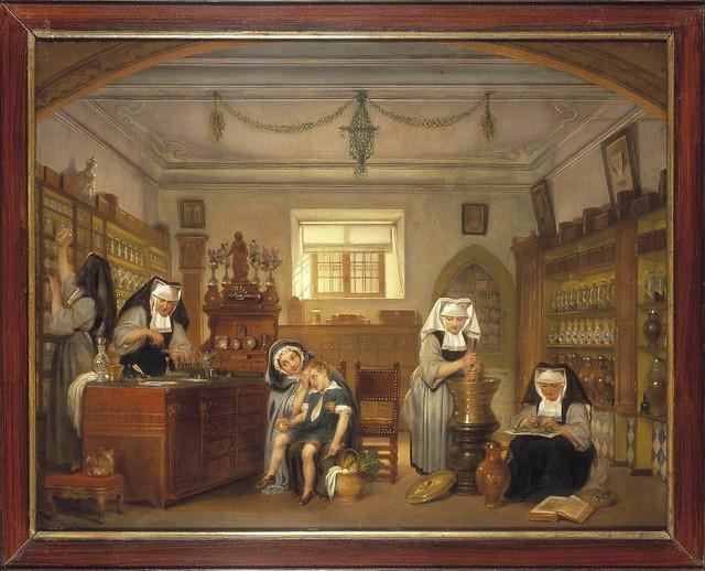 Zicht in de apotheek van het Sint-Janshospitaal, schilderij (19de eeuw)