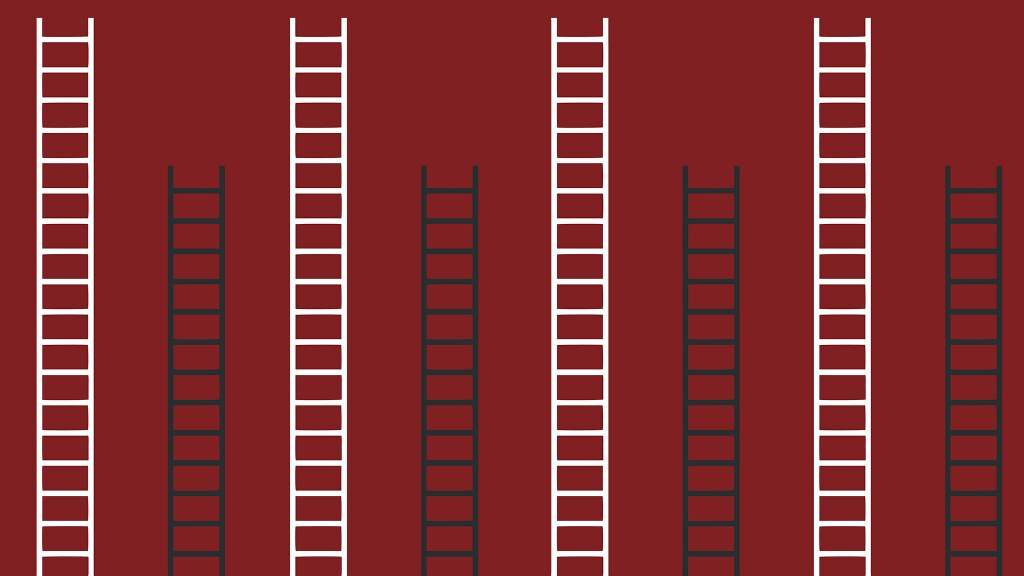 A graphic of ladders at different heights