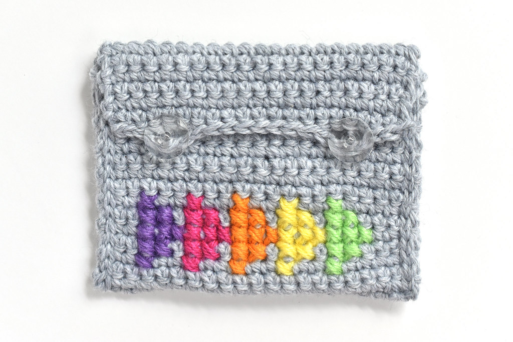 Cross Stitched Crochet Pouch