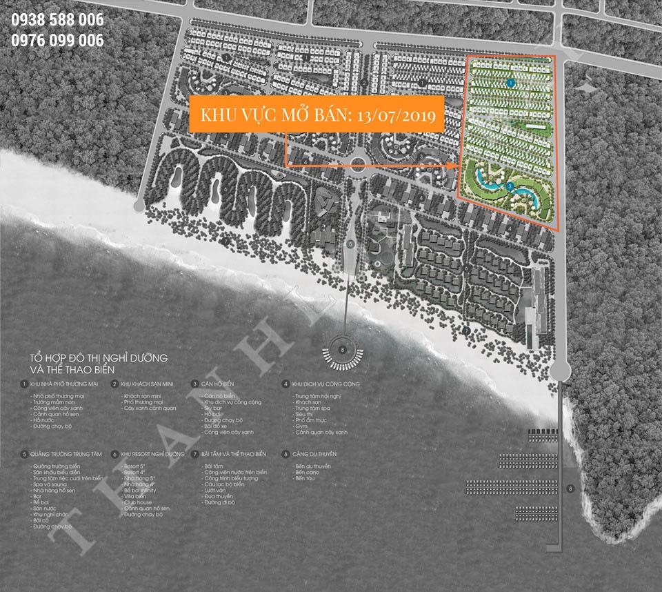 Mặt bằng dự án Thanh Long Bay Phan Thiết, khu vực kinh doanh căn hộ và shophiuse, nhà phố thương mại.