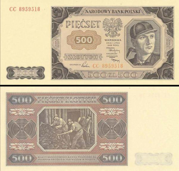 500 Zlotých Poľsko 1948, P140