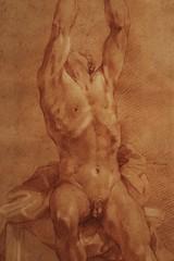 Homme nu assis, bras levés (17ème siecle)
