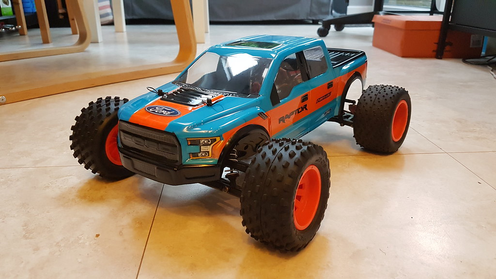 Proline 2017 Ford F150 Raptor body for Pro MT, fitted to a Tamiya DT03 Chassis by CTE RC