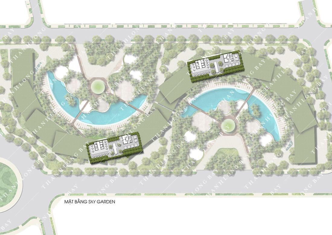 Mặt bằng tầng căn hộ Thanh Long Bay Phan Thiết, tầng khu vườn trên cao - Sky Garden.