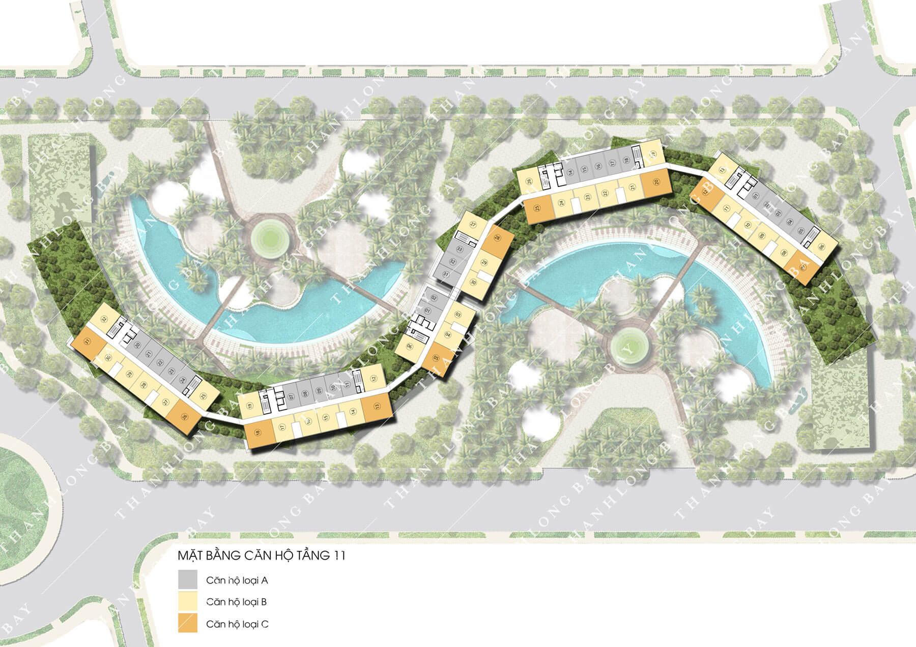 Mặt bằng tầng 11 dự án căn hộ biển Thanh Long Bay, Phan Thiết.