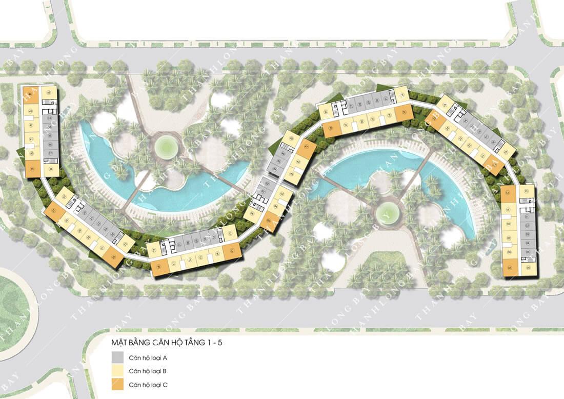 Mặt bằng tầng 1-5 dự án Thanh Long Bay, Phan Thiết.