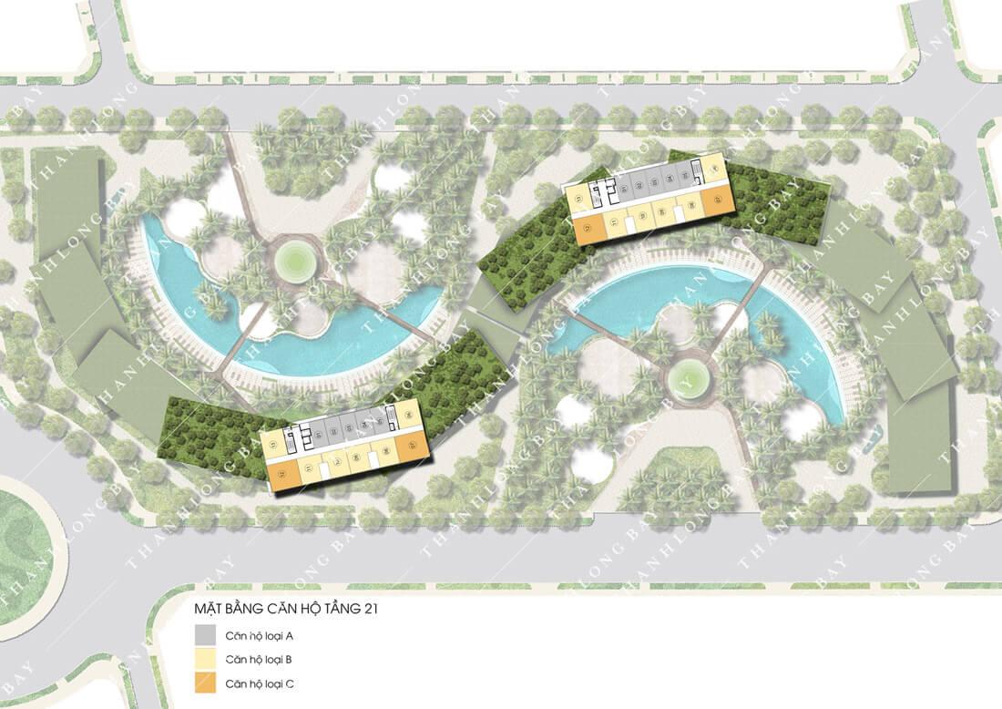 Mặt bằng tầng 21 dự án căn hộ biển Thanh Long Bay Phan Thiết.