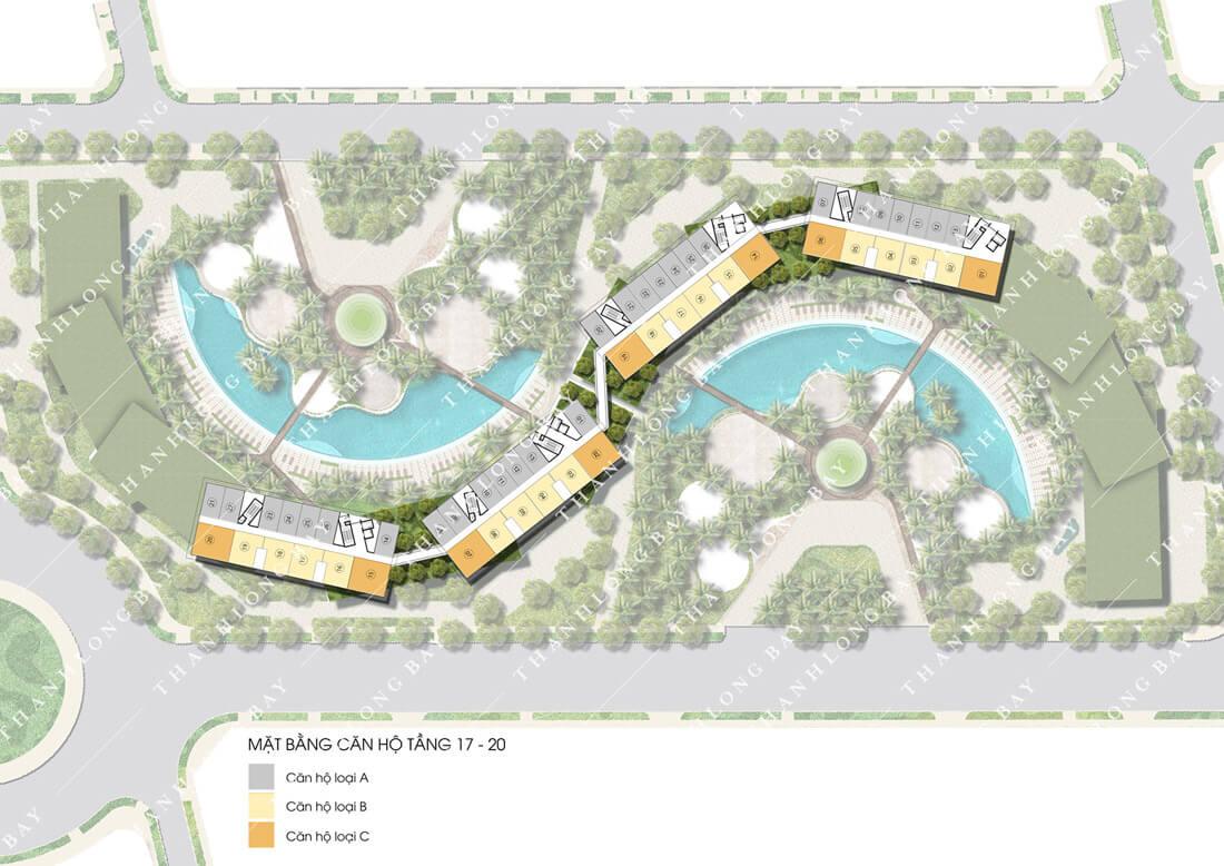 Mặt bằng tầng 17-20 dự án căn hộ biển Thanh Long Bay, Phan Thiết.