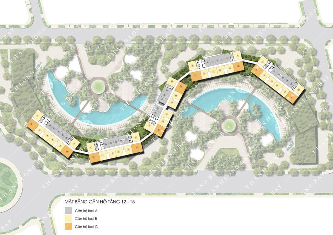 Mặt bằng tầng 12-15 dự án căn hộ biển Thanh Long bay, Phan Thiết.