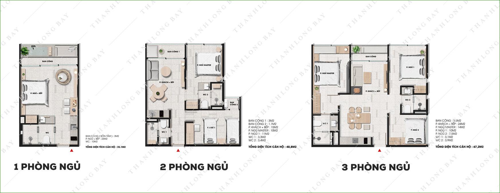 Mặt bằng căn hộ loại 1, 2, 3 phòng ngủ tại dự án Thanh Long Bay, Phan Thiết.