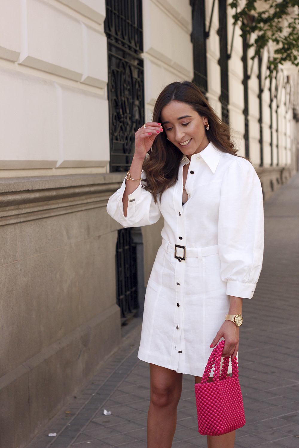 white linen dress pink bag nude sandals folli follie jewellery street style outfit 201915