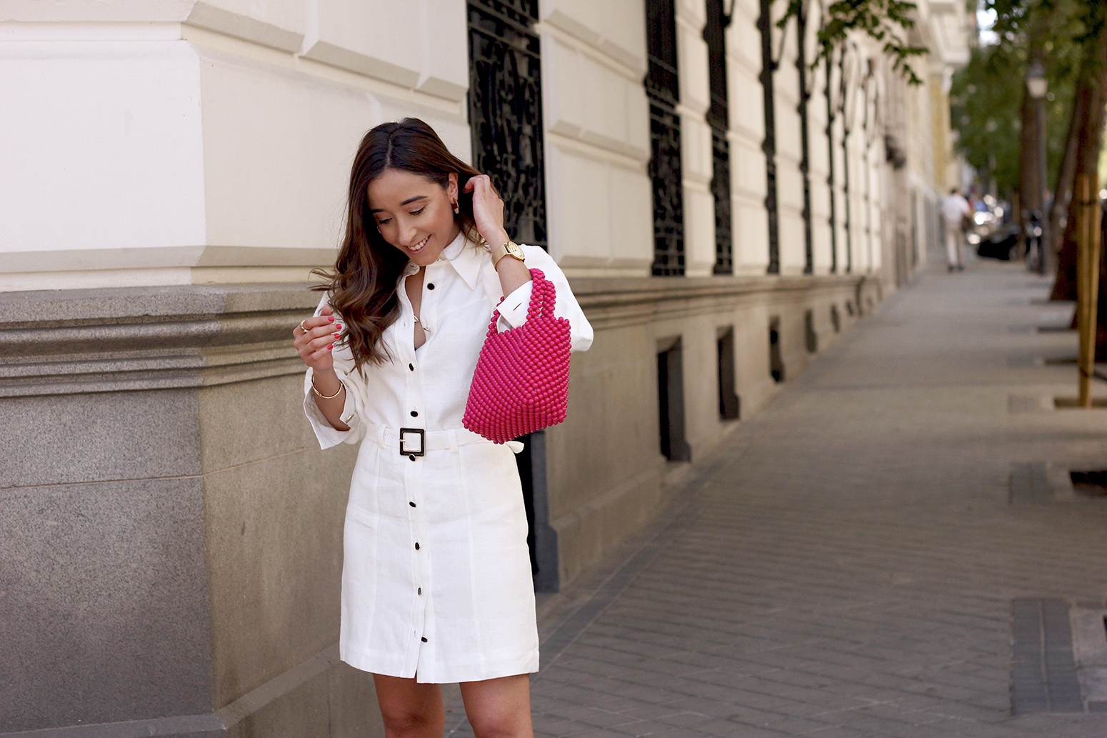 white linen dress pink bag nude sandals folli follie jewellery street style outfit 201913