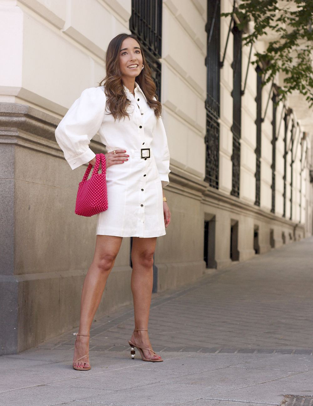 white linen dress pink bag nude sandals folli follie jewellery street style outfit 20198