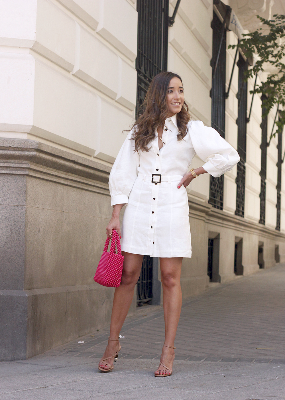 white linen dress pink bag nude sandals folli follie jewellery street style outfit 20199