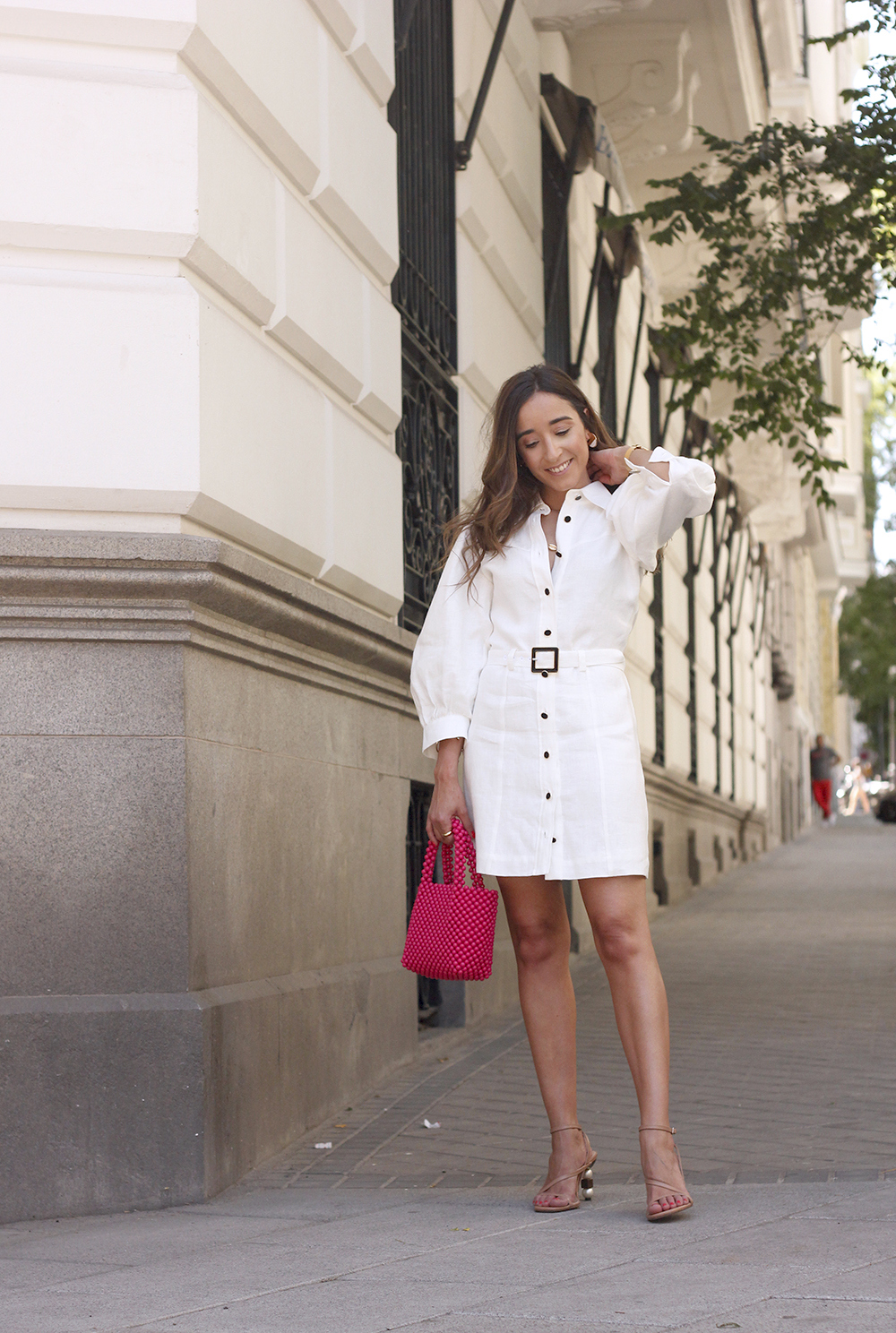 white linen dress pink bag nude sandals folli follie jewellery street style outfit 20194