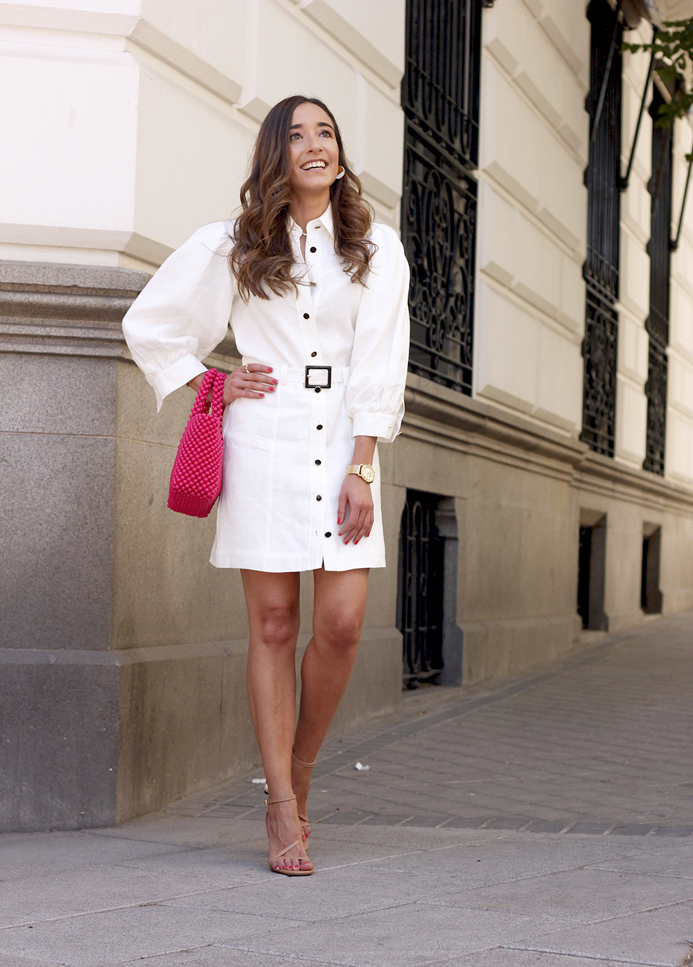white linen dress pink bag nude sandals folli follie jewellery street style outfit 20197