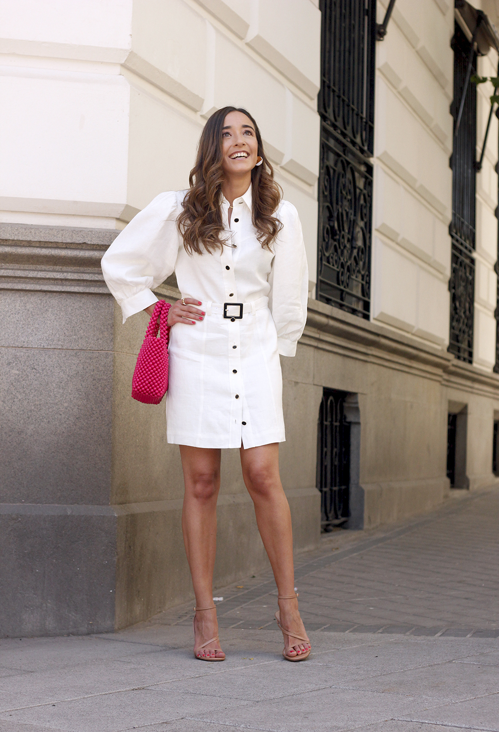 white linen dress pink bag nude sandals folli follie jewellery street style outfit 20196